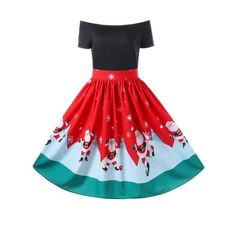 Christmas Off The Shoulder Swing Dress - Red Xl Mobile