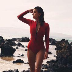 Devin Brugman in Duskii Luxe Saint Tropez scarlet red long sleeve suit for   abikiniaday Beach 58ce898f9