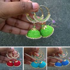 Silk crochet earrings
