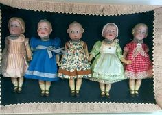 Heubach Bisque Head Dolls in  original Box. Tallest one is 17 cm. Many of such sets are sold as original but are reproductions .