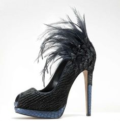 Black feathered heels