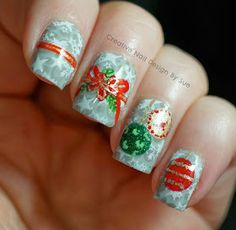 20 Festive Nail Art Ideas for New Year's Eve Creative Nail Designs, Winter Nail Designs, Creative Nails, Nail Art Designs, Best Summer Nail Color, Summer Nail Polish, Holiday Nail Art, Christmas Nail Art, Christmas Ribbon