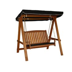 Corliving Wood Canyon Cinnamon Brown Stained Patio Swing Cinnamon