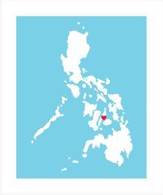 Love Cebu Philippine Map Print