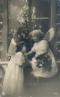 Vintage Christmas card: Angels