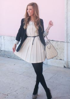 dress with a blazer and stockings!