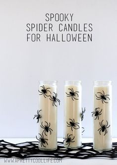 Happy early Halloween, friends! I'll admit that spiders usually freak me out…but for Halloween? Well, they're super fun! So here's a simple but spooky craft you can make in just a few minutes… Diy Halloween Home Decor, Diy Halloween Dekoration, Halloween Spider Decorations, Halloween Candles, Halloween Crafts For Kids, Halloween Projects, Halloween Party Decor, Easy Halloween, Holidays Halloween
