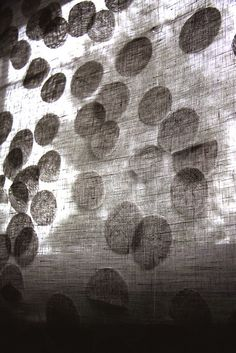 :: DETAILS :: adore the creative work of Ravi Design, lovely layering of linen circles that filter in the light Textile Texture, Textile Fiber Art, Polka Dot Curtains, Arte Yin Yang, Et Wallpaper, Weaving Textiles, Fabric Manipulation, Textile Patterns, Surface Design