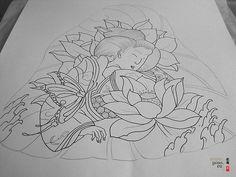 japanese tattoo design, geisha, butterfly, flowers. More info tattoo.yoso.eu/
