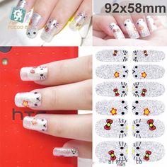 2016 3D Nail Art Foil Stickers Little Cat Design Adhesive Nail Sticker Manicure Full Cover Wraps Foil Decals ZJT010