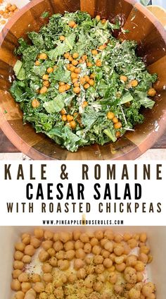 This easy Kale and Romaine Caesar Salad with Roasted Chickpeas is a delicious spin on the classic Caesar. A little lemon juice makes all the difference with kale! The texture of the roasted chickpeas sends this salad over the edge, too. Caesar Salad Recipe | Kale Recipes | Kale Salad | Kale Salad Recipes | Kale | Kale Caesar Salad | Kale Caesar Salad Recipe | Easy Recipes | Easy Healthy Recipes | Easy Recipes Healthy | Salad Recipes | Roasted Chickpeas | Salad Recipes Healthy | Healthy Kale Salad Recipes, Salad Dressing Recipes, Easy Healthy Recipes, Delicious Recipes, Vegan Recipes, Roasted Chickpea Salad, Kale Caesar Salad, Main Dish Salads, Side Salad