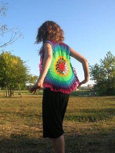 Flower Mandala Crochet Waistcoat