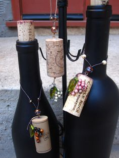 Wine Cork Ornament Set of 3 Charms by ClassyFlair on Etsy, $7.00