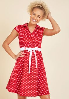 Hepcat Soda Fountain A-Line Dress in Cherry. In this 50s-inspired red shirtdress, your date at the ice cream parlor is a stylish one! #red #modcloth