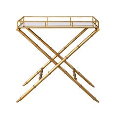 Faux Bamboo Metal: Antique Gold Finish: Mirror