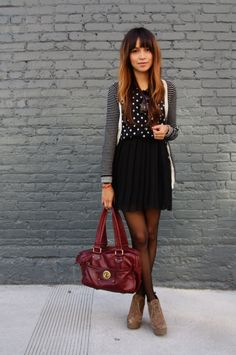 Patterns mixed, skirt, tights and booties