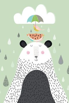This bear illustration makes us happy about the rain :-)