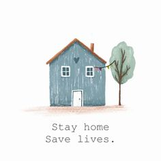 Stay home Save lives. - Illustration Corona home huis vlagjes procreate - Indian Home Decor, Retro Home Decor, Easy Home Decor, Save Life, Stay At Home, Health Quotes, Stay Safe, Education Quotes, Digital Illustration