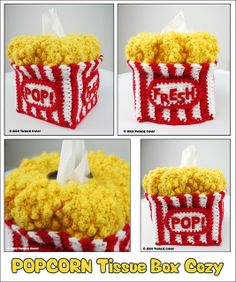 Popcorn Tissue Cozy - could make a cute purse, too!
