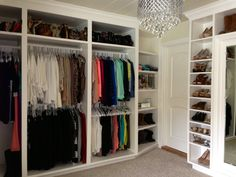 Like the divided sections in this closet.  Perhaps something to think about for the future!