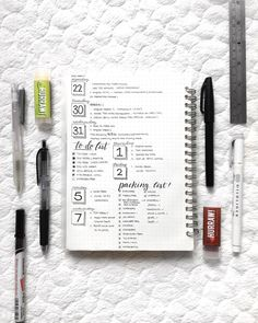 Bullet journal weekly layout, cursive headers, weekly task list, packing list. | @brbstudyingg