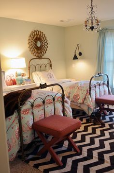 love this sophisticated little girls' room.  the black and white pattern rug grounds it!  I think it's a fieldstone hill design.