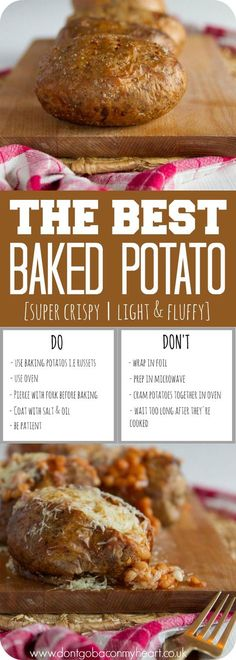 A step by step guide to making the Best Baked Potato. Crispy on the outside and fluffy on the inside, the perfect Jacket Potato is yours, ready and waiting. Jacket Potato Oven, Jacket Potato Recipe, Baked Jacket Potatoes, Baked Potatoes, Jack Potato, Best Baked Potato, Perfect Baked Potato, Vegetarian Recipes, Cooking Recipes