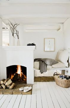 Nook with a roaring fireplace