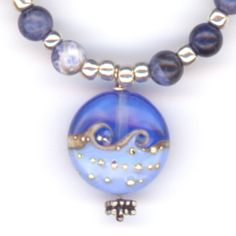 Gemstone Necklace with Ocean Waves Glass Pendant by LehaneArts, $29.95 #group2020 #etsy #etsyRMP