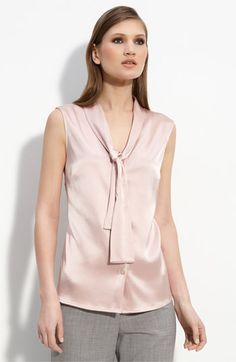 St John Collection's Tie Neck Satin Top. This is really pretty--I love it in the soft pale satin. Outrageously expensive though, $395.
