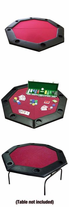 Card Tables And Tabletops 166572: Poker Table Octagon Folding Padded Rail  Cup Holders Carrying Case