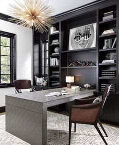 25 ULTIMATE MASCULINE HOME OFFICE IDEAS Black Office Furniture, Home Office Furniture, Home Office Decor, Office Interior Design, Interior, Home Decor, Masculine Home Offices, House Interior, Home Office Organization