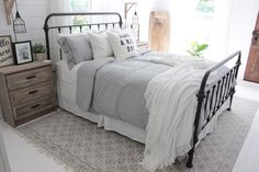 Master bedroom inspiration with Rugs USA's Chembra CH03 Block Printed Cotton Flatweave Trellis Border Rug!