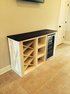 coffee bar ideas This buffet is made of solid pine wood. It has a wine rack and a place for wine cooler. Wine cooler NOT are 60 x 19 x 37 high. We custom make each piece so size can b Bar Furniture, Coffee Bar Home, Bars For Home, Diy Home Decor, Home Diy, Pallet Diy, Diy Home Decor Projects, Diy Furniture, Buffet With Wine Rack