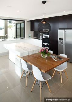 New Kitchen Island Table Extension Woods Ideas Home Kitchens, Contemporary Kitchen Design, Contemporary Kitchen, Kitchen Benches, Kitchen Dining Room, Modern Kitchen, Kitchen Island Design, Kitchen Interior, Contemporary Kitchen Cabinets