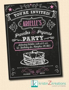 PANCAKES AND PAJAMAS chalkboard invitation by kristinZkreations, $15.00