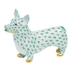 """Herend Hand Painted Porcelain Figurine """"Corgi""""  Green Fishnet Gold Accents."""