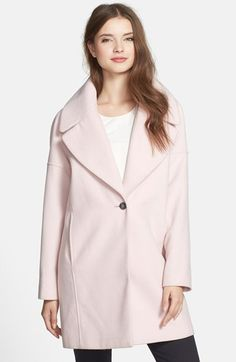 Free shipping and returns on Calvin Klein Pink Notch Collar Coat at Nordstrom.com. An oversized collar and dropped-shoulder styling enhance the cozy cocoon silhouette of a minimally detailed coat washed in a pale pink hue.