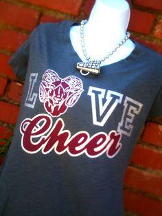 love tshirt mascot cheer baseball football by Rocknmamadesigns, $25.00