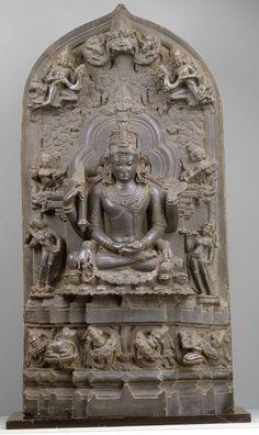 Shiva as Mrityunjaya, the Conquerer of Death - 12 Century Pala Period Black Stone Sculpture, Eastern India