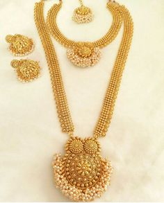 Beautiful South Indian Double Long Necklace Set