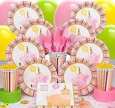 Baby Animals Birthday Girl  Baby Animals Party for your Little Girl who's Turning One    Your baby girl is turning one and this is the perfect time for a baby animals party. She will identify with the smallest elephants, zebras, tigers and hippos. They are babies too! This is a theme that features pink, green and yellow.