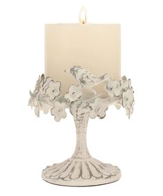 Take a look at this Stonebriar Collection | White Ornate Floral Bird Pillar Candleholder today!