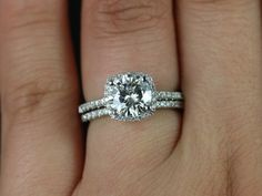 Barra Sweetheart Size Platinum Round FB Moissanite by RosadosBox, $2780.00