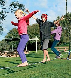 Gibbon Slacklining Funline-2 inches wide by 49 feet, max weight 220 lbs, think this would be great at edge of park between trees.