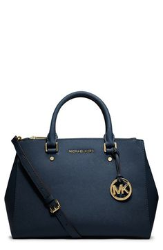 MICHAEL Michael Kors 'Medium Sutton' Saffiano Navy Leather Tote $328, get it here: http://rstyle.me/~2Es1G