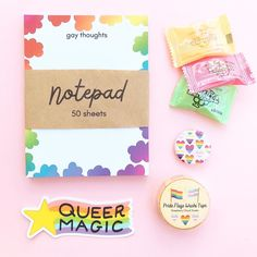 Feminist and LGBT stationery & gifts by Raspberry Cloud Studio Handmade Products, Handmade Shop, Handmade Items, Handmade Gifts, Personalized Notebook, Rainbow Heart, Study Inspiration, Stationery Set, Packaging Ideas