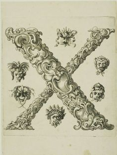 Peter Aubry foliated engraving design of letter 'X'