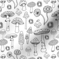 Colorful fabrics digitally printed by Spoonflower - PNW Champignons Mushroom Paint, Mushroom Drawing, Drawings With Meaning, Crystal Drawing, Mushroom Tattoos, Crystal Tattoo, Stick N Poke Tattoo, Tattoo Flash Art, Halloween Drawings