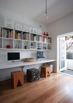 19 Trendy home office design ideas for men window Shelves Above Desk, Floating Bookshelves, Bookshelf Desk, Floating Desk, Hanging Bookshelves, Office Bookshelves, Room Shelves, Bureau Design, Craft Room Ideas For The Home